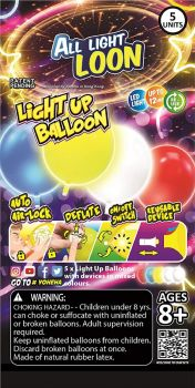 All Light Loon Balloon with LED and Inflate / Deflate Instrument 5 Pieces - Assorted