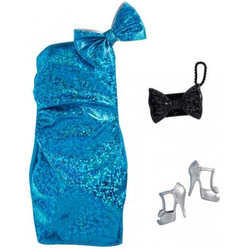 Barbie Fashion Pack Sparkly Blue Dress Silver High Heel Shoes Online in UAE