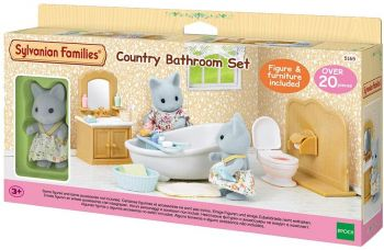 Sylvanian Families Country Bathroom Set with Cat Sister 5165