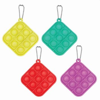 Square Fidget Popper Keychain Assorted Colors 211819